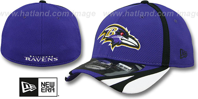 Ravens '2014 NFL TRAINING FLEX' Purple Hat by New Era : pictured without stickers that these products are shipped with