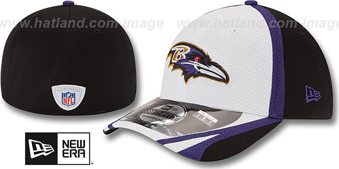 Ravens '2014 NFL TRAINING FLEX' White Hat by New Era : pictured without stickers that these products are shipped with