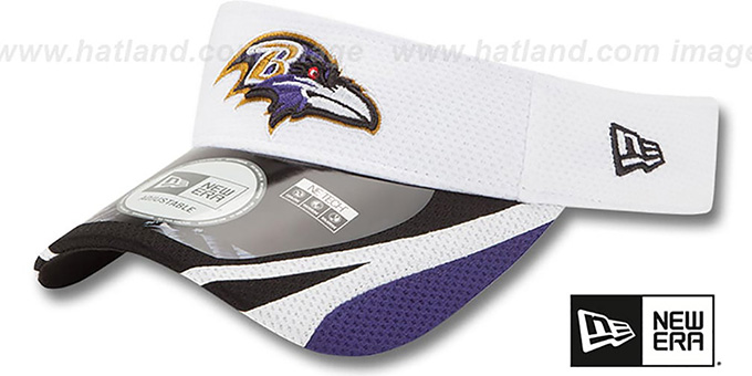 Ravens '2014 NFL TRAINING' White Visor by New Era : pictured without stickers that these products are shipped with