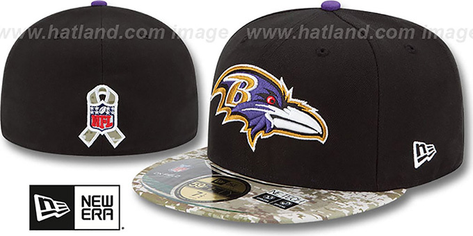 Ravens '2014 SALUTE-TO-SERVICE' Black-Desert Fitted Hat by New Era : pictured without stickers that these products are shipped with