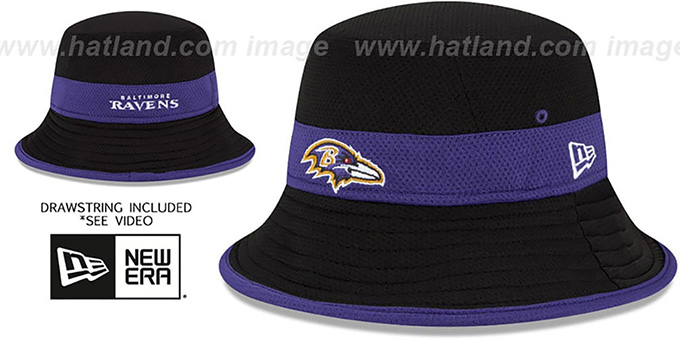 Ravens '2015 NFL TRAINING BUCKET' Black Hat by New Era : pictured without stickers that these products are shipped with