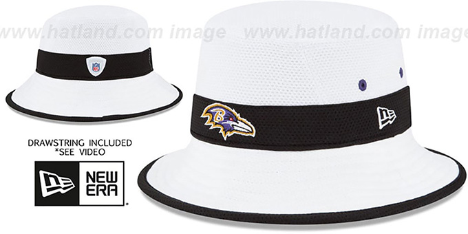 Ravens '2015 NFL TRAINING BUCKET' White Hat by New Era : pictured without stickers that these products are shipped with