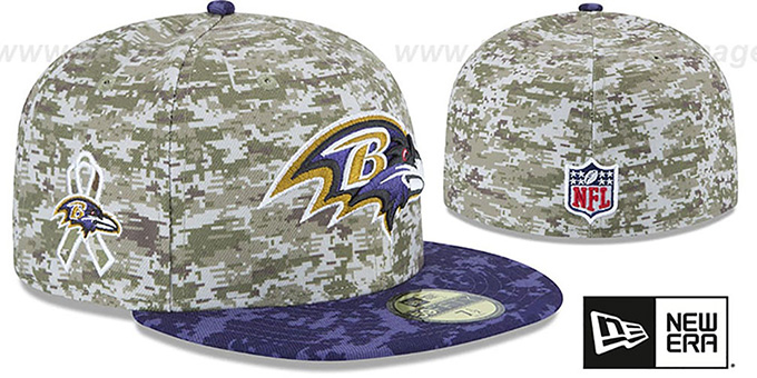 Ravens '2015 SALUTE-TO-SERVICE' Desert-Purple Fitted Hat by New Era : pictured without stickers that these products are shipped with