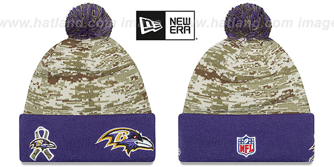 Ravens '2015 SALUTE-TO-SERVICE' Knit Beanie Hat by New Era : pictured without stickers that these products are shipped with