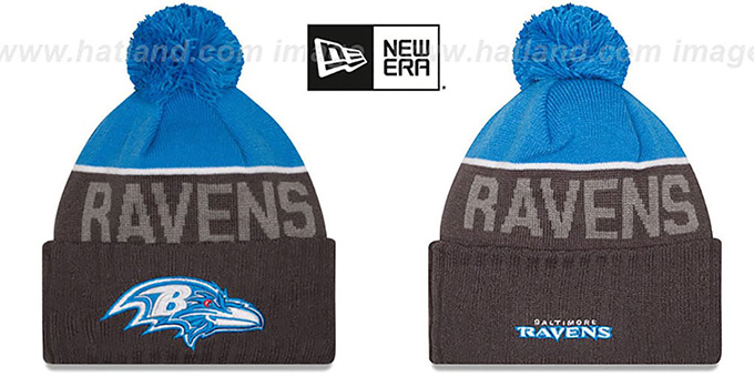 Ravens '2015 STADIUM' Charcoal-Blue Knit Beanie Hat by New Era : pictured without stickers that these products are shipped with