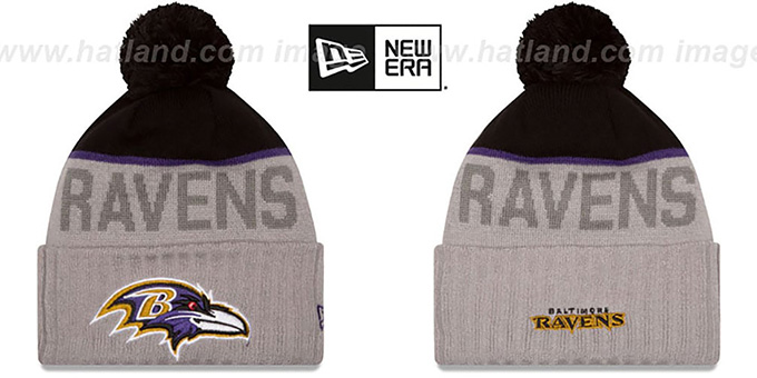 Ravens '2015 STADIUM' Grey-Black Knit Beanie Hat by New Era : pictured without stickers that these products are shipped with