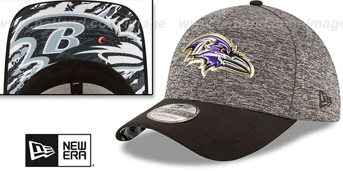 Ravens '2016 MONOCHROME NFL DRAFT FLEX' Hat by New Era : pictured without stickers that these products are shipped with