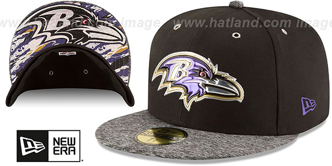 Ravens '2016 NFL DRAFT' Fitted Hat by New Era : pictured without stickers that these products are shipped with