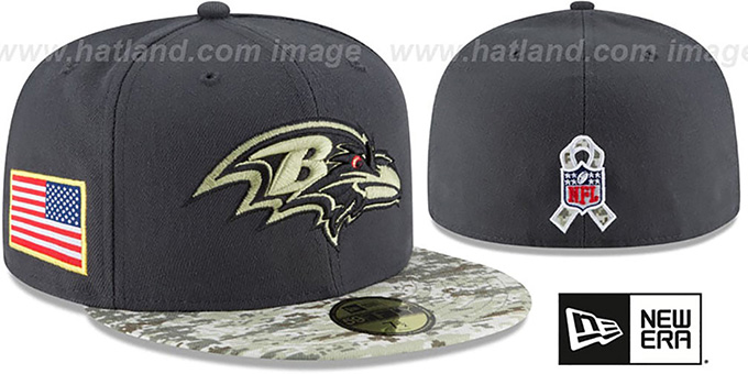Ravens '2016 SALUTE-TO-SERVICE' Grey-Desert Fitted Hat by New Era : pictured without stickers that these products are shipped with