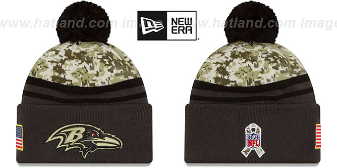 Ravens '2016 SALUTE-TO-SERVICE' Knit Beanie Hat by New Era : pictured without stickers that these products are shipped with
