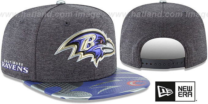 Ravens '2017 NFL ONSTAGE SNAPBACK' Charcoal Hat by New Era : pictured without stickers that these products are shipped with