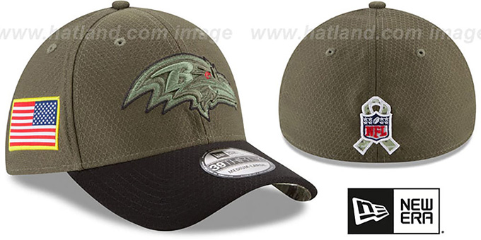 Ravens '2017 SALUTE-TO-SERVICE FLEX' Green-Black Hat by New Era