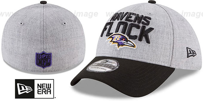 Ravens '2018 ONSTAGE FLEX' Grey-Black Hat by New Era : pictured without stickers that these products are shipped with