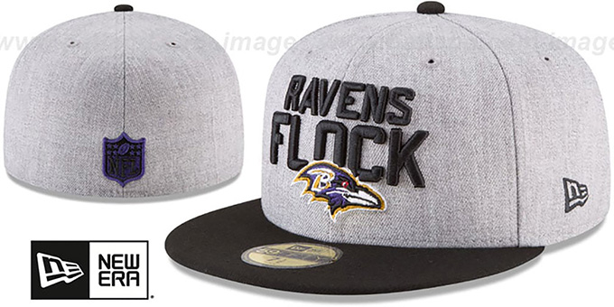 Ravens '2018 ONSTAGE' Grey-Black Fitted Hat by New Era : pictured without stickers that these products are shipped with