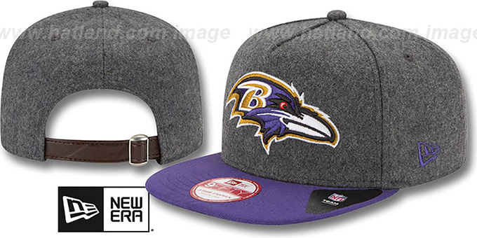 Ravens '2T MELTON A-FRAME STRAPBACK' Hat by New Era : pictured without stickers that these products are shipped with