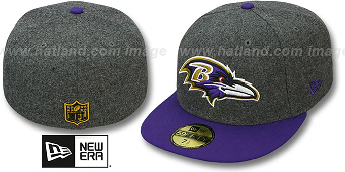 Ravens '2T NFL MELTON-BASIC' Grey-Purple Fitted Hat by New Era : pictured without stickers that these products are shipped with