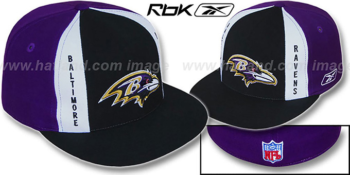 Ravens 'AJD PINWHEEL' Black-Purple Fitted Hat by Reebok : pictured without stickers that these products are shipped with