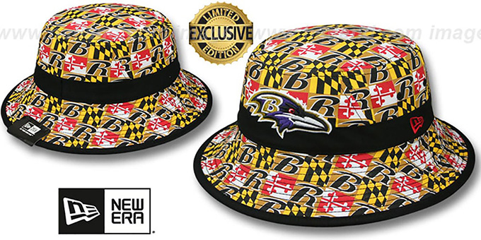 Ravens 'ALL-OVER MARYLAND FLAG BUCKET' Hat by New Era : pictured without stickers that these products are shipped with