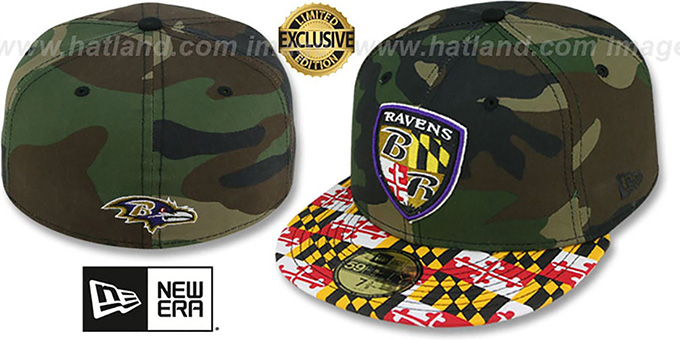 Ravens ALT 'MARYLAND-FLAG' Army Camo Fitted Hat by New Era : pictured without stickers that these products are shipped with