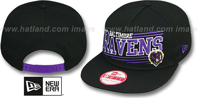 Ravens 'ANGULAR A-FRAME SNAPBACK' Black Hat by New Era : pictured without stickers that these products are shipped with