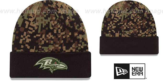 Ravens 'ARMY CAMO PRINT-PLAY' Knit Beanie Hat by New Era : pictured without stickers that these products are shipped with