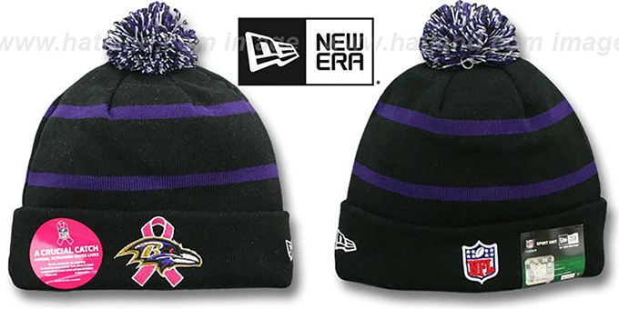 Ravens 'BCA CRUCIAL CATCH' Knit Beanie Hat by New Era : pictured without stickers that these products are shipped with