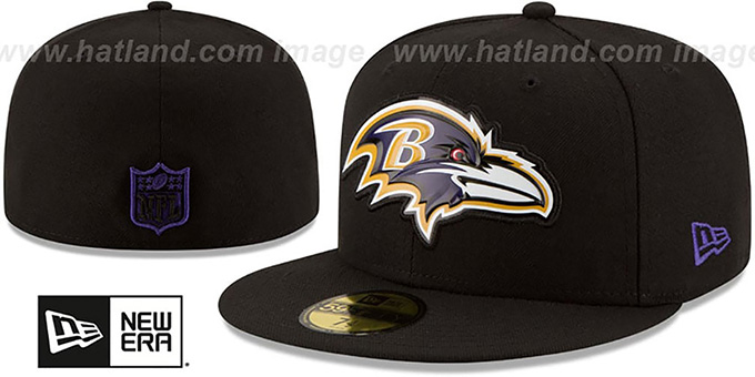 Ravens 'BEVEL' Black Fitted Hat by New Era : pictured without stickers that these products are shipped with