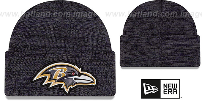 Ravens 'BEVEL' Purple-Black Knit Beanie Hat by New Era : pictured without stickers that these products are shipped with