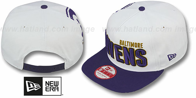 Ravens 'BIGSIDE A-FRAME SNAPBACK' White-Purple Hat by New Era
