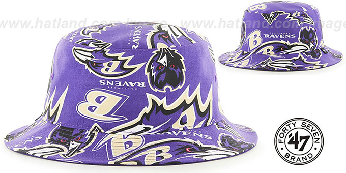 Ravens 'BRAVADO BUCKET' Hat by Twins 47 Brand : pictured without stickers that these products are shipped with