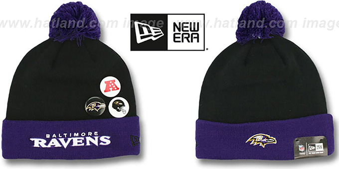 Ravens 'BUTTON-UP' Knit Beanie Hat by New Era : pictured without stickers that these products are shipped with