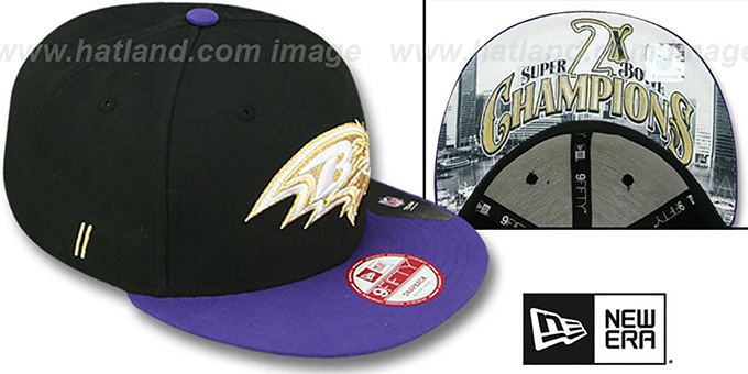 Ravens 'CHAMPS-HASH SNAPBACK' Black-Purple Hat by New Era : pictured without stickers that these products are shipped with