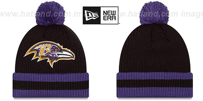 Ravens 'CHILLER FILLER BEANIE' Black-Purple by New Era : pictured without stickers that these products are shipped with