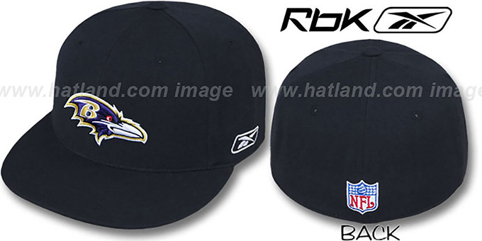 Ravens 'COACHES' Black Fitted Hat by Reebok : pictured without stickers that these products are shipped with