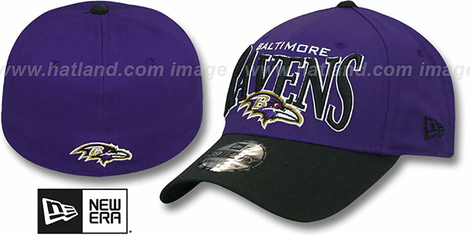 Ravens 'COIN TOSS FLEX' Purple-Black Hat by New Era : pictured without stickers that these products are shipped with
