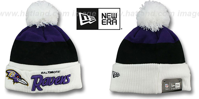 Ravens 'CUFF-SCRIPTER' White-Black-Purple Knit Beanie Hat by New Era : pictured without stickers that these products are shipped with