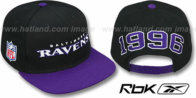 Ravens 'ESTABLISHED SNAPBACK' Black-Purple Adjustable Hat by Reebok : pictured without stickers that these products are shipped with