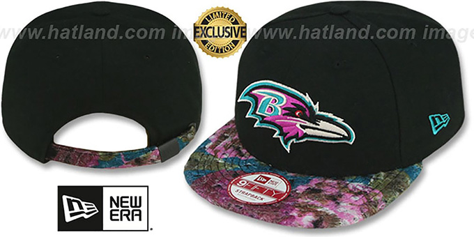 Ravens 'FLORAL-FUR STRAPBACK' Black-Purple Hat by New Era : pictured without stickers that these products are shipped with