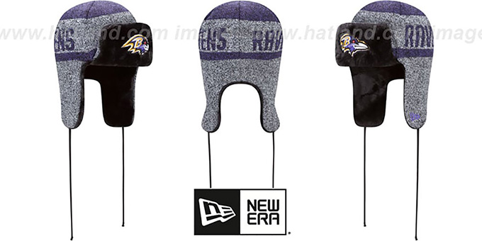 Ravens 'FROSTWORK TRAPPER' Purple Knit Hat by New Era : pictured without stickers that these products are shipped with