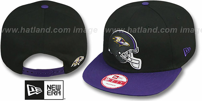 Ravens 'GOAL LINE SNAPBACK' Black-Purple Adjustable Hat by New Era : pictured without stickers that these products are shipped with