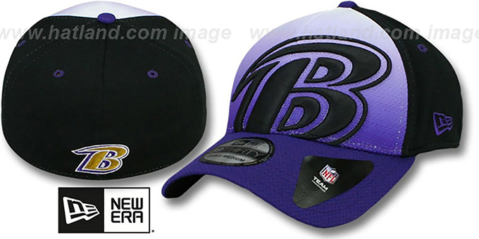 Ravens 'GRADATION FLEX' Hat by New Era : pictured without stickers that these products are shipped with
