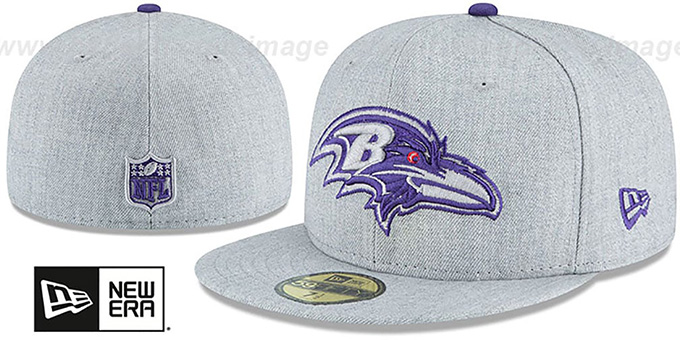 129c4bdd6bc Baltimore Ravens HEATHER TEAM-BASIC Light Grey Fitted Hat