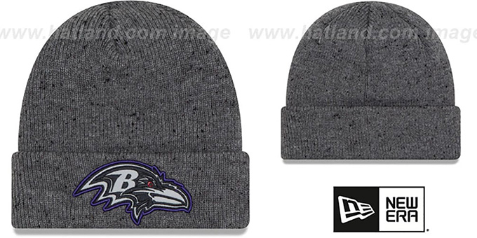 Ravens 'HEATHERED-SPEC' Grey Knit Beanie Hat by New Era : pictured without stickers that these products are shipped with