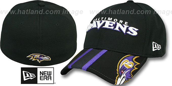 Ravens 'HELMET HIT VISOR' Flex Hat by New Era : pictured without stickers that these products are shipped with
