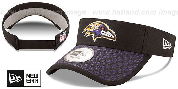 Ravens 'HONEYCOMB STADIUM VISOR' Black by New Era : pictured without stickers that these products are shipped with