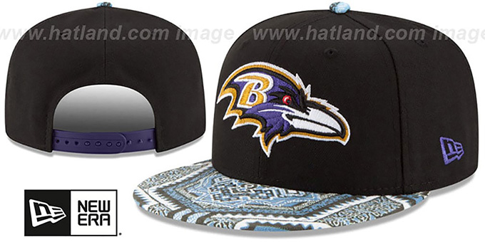Ravens 'KALEIDOVIZE SNAPBACK' Black Hat by New Era : pictured without stickers that these products are shipped with