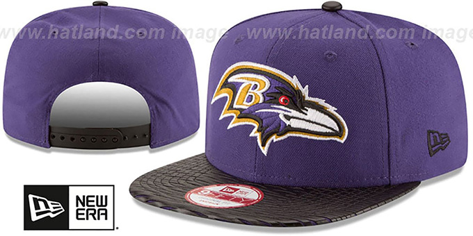 Baltimore Ravens NFL LEATHER-RIP SNAPBACK Purple-Black Hat 215ab5a5e97