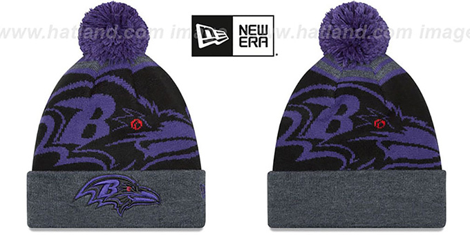 Ravens 'LOGO WHIZ' Black-Charcoal Knit Beanie Hat by New Era : pictured without stickers that these products are shipped with