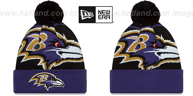 Ravens 'LOGO WHIZ' Black-Purple Knit Beanie Hat by New Era : pictured without stickers that these products are shipped with