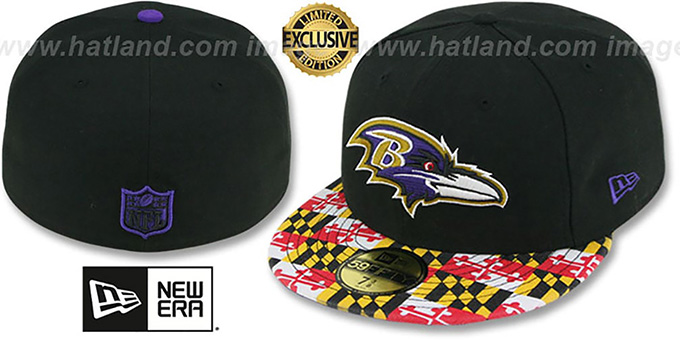 Ravens 'MARYLAND-FLAG' Black Fitted Hat by New Era : pictured without stickers that these products are shipped with